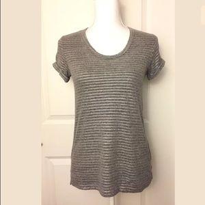Anthropologie T.la Gray Silver Striped T Shirt XXS